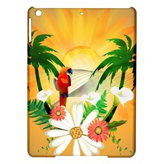 Cute Parrot With Flowers And Palm iPad Air Hardshell Cases