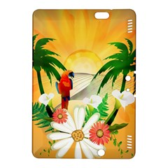 Cute Parrot With Flowers And Palm Kindle Fire HDX 8.9  Hardshell Case