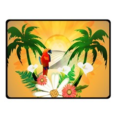 Cute Parrot With Flowers And Palm Double Sided Fleece Blanket (small)