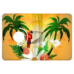 Cute Parrot With Flowers And Palm Kindle Fire HDX Flip 360 Case