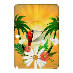 Cute Parrot With Flowers And Palm Samsung Galaxy Tab Pro 12.2 Hardshell Case