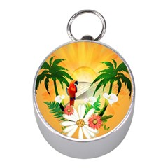 Cute Parrot With Flowers And Palm Mini Silver Compasses