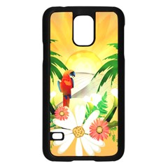 Cute Parrot With Flowers And Palm Samsung Galaxy S5 Case (Black)