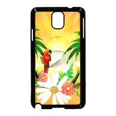 Cute Parrot With Flowers And Palm Samsung Galaxy Note 3 Neo Hardshell Case (black)