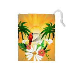 Cute Parrot With Flowers And Palm Drawstring Pouches (Medium)