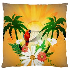 Cute Parrot With Flowers And Palm Standard Flano Cushion Cases (Two Sides)