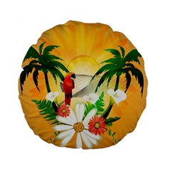 Cute Parrot With Flowers And Palm Standard 15  Premium Flano Round Cushions