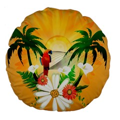 Cute Parrot With Flowers And Palm Large 18  Premium Flano Round Cushions