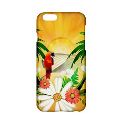 Cute Parrot With Flowers And Palm Apple Iphone 6/6s Hardshell Case