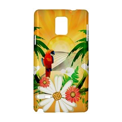 Cute Parrot With Flowers And Palm Samsung Galaxy Note 4 Hardshell Case