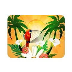 Cute Parrot With Flowers And Palm Double Sided Flano Blanket (mini)
