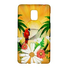 Cute Parrot With Flowers And Palm Galaxy Note Edge
