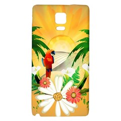 Cute Parrot With Flowers And Palm Galaxy Note 4 Back Case
