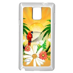 Cute Parrot With Flowers And Palm Samsung Galaxy Note 4 Case (white)