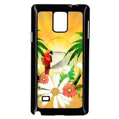 Cute Parrot With Flowers And Palm Samsung Galaxy Note 4 Case (Black)