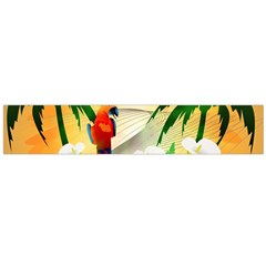Cute Parrot With Flowers And Palm Flano Scarf (Large)