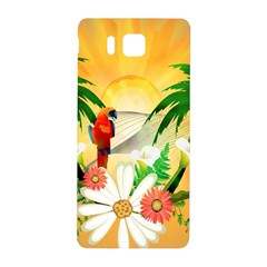 Cute Parrot With Flowers And Palm Samsung Galaxy Alpha Hardshell Back Case