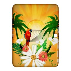 Cute Parrot With Flowers And Palm Samsung Galaxy Tab 4 (10 1 ) Hardshell Case