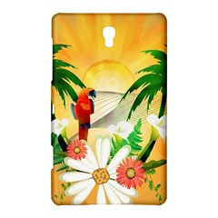 Cute Parrot With Flowers And Palm Samsung Galaxy Tab S (8.4 ) Hardshell Case