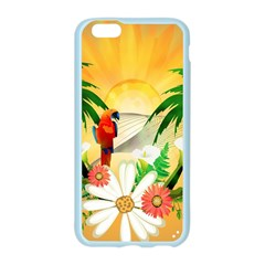 Cute Parrot With Flowers And Palm Apple Seamless iPhone 6/6S Case (Color)