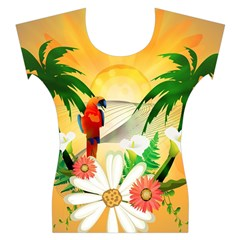 Cute Parrot With Flowers And Palm Women s Cap Sleeve Top