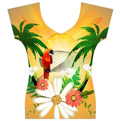 Cute Parrot With Flowers And Palm Women s V-Neck Cap Sleeve Top