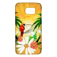 Cute Parrot With Flowers And Palm Galaxy S6