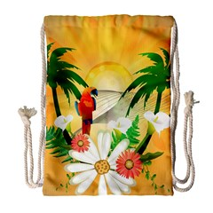 Cute Parrot With Flowers And Palm Drawstring Bag (large)
