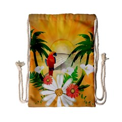 Cute Parrot With Flowers And Palm Drawstring Bag (Small)
