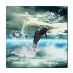 Funny Dolphin Jumping By A Heart Made Of Water Tile Coasters