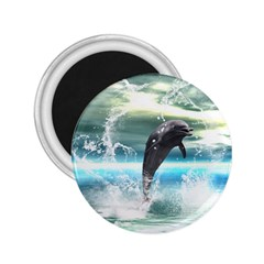 Funny Dolphin Jumping By A Heart Made Of Water 2.25  Magnets