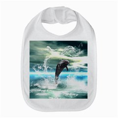 Funny Dolphin Jumping By A Heart Made Of Water Bib