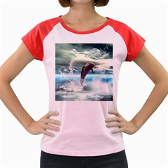 Funny Dolphin Jumping By A Heart Made Of Water Women s Cap Sleeve T-Shirt