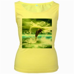 Funny Dolphin Jumping By A Heart Made Of Water Women s Yellow Tank Tops