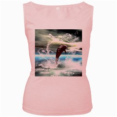 Funny Dolphin Jumping By A Heart Made Of Water Women s Pink Tank Tops