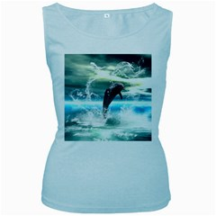 Funny Dolphin Jumping By A Heart Made Of Water Women s Baby Blue Tank Tops