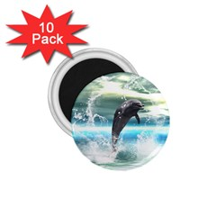 Funny Dolphin Jumping By A Heart Made Of Water 1 75  Magnets (10 Pack)