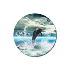 Funny Dolphin Jumping By A Heart Made Of Water Rubber Round Coaster (4 pack)