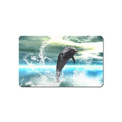 Funny Dolphin Jumping By A Heart Made Of Water Magnet (Name Card)