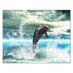 Funny Dolphin Jumping By A Heart Made Of Water Rectangular Jigsaw Puzzl