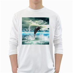 Funny Dolphin Jumping By A Heart Made Of Water White Long Sleeve T-Shirts