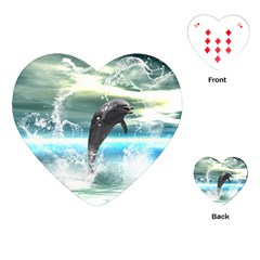Funny Dolphin Jumping By A Heart Made Of Water Playing Cards (heart)