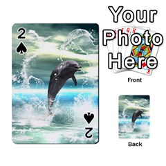 Funny Dolphin Jumping By A Heart Made Of Water Playing Cards 54 Designs