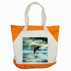 Funny Dolphin Jumping By A Heart Made Of Water Accent Tote Bag