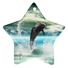 Funny Dolphin Jumping By A Heart Made Of Water Star Ornament (Two Sides)