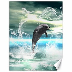 Funny Dolphin Jumping By A Heart Made Of Water Canvas 18  X 24