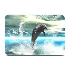 Funny Dolphin Jumping By A Heart Made Of Water Plate Mats