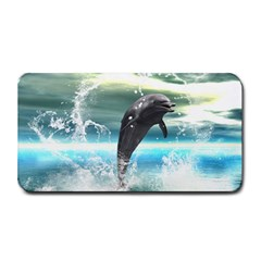 Funny Dolphin Jumping By A Heart Made Of Water Medium Bar Mats