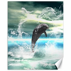 Funny Dolphin Jumping By A Heart Made Of Water Canvas 11  X 14