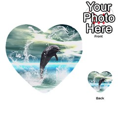 Funny Dolphin Jumping By A Heart Made Of Water Multi Purpose Cards (heart)